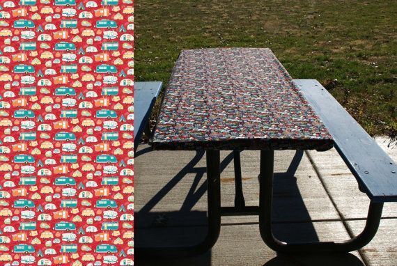 Kid-proof, wind-proof, pet-proof tablecloth doesn't need any clips to keep it from shifting or blowing away. Fitted table cover in 6 or 8 foot lengths. Perfect for folding tables and picnic tables. Red fabric with cheerful print of vintage trailers.
