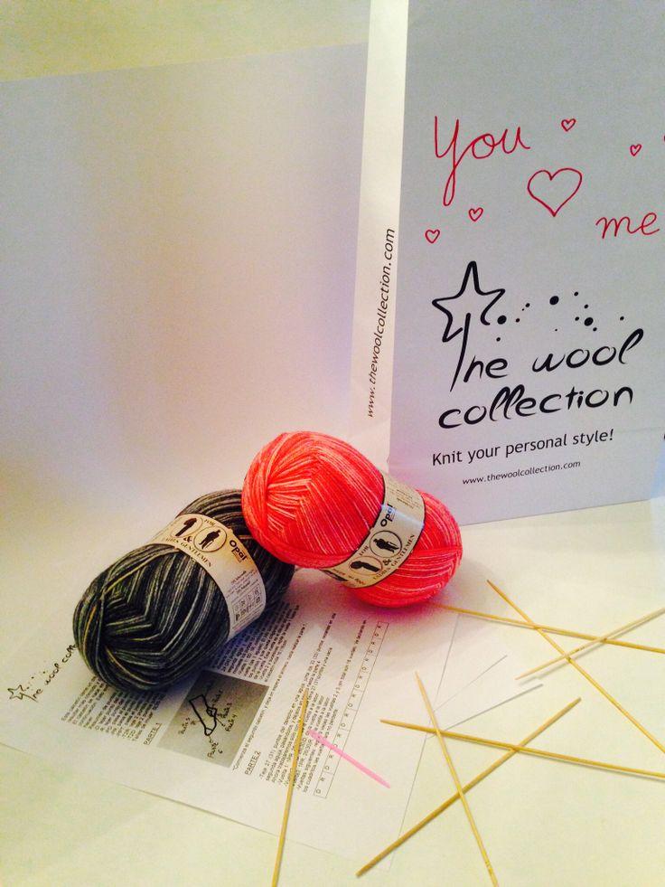 Kit especial día de los enamorados. Kit incluye lo necesario para tejer dos pares de calcetines para él y para ella. De la colección Ladies&Gentlemen #valentinesday #sanvalentin #diadelosenamorados