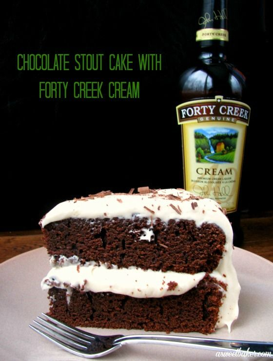 Chocolate Stout Cake with Forty Creek Cream Icing by asweetbaker.com