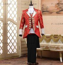 Человек королевский вечернее платье бальные танцы производительность носите жених костюм ( куртка + брюки + жилет + воротник цветок + цветок )(China (Mainland))