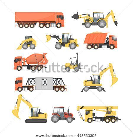 Set of heavy construction machines. Tractor, truck, dump truck, excavator. Flat design vector illustrations. - stock vector