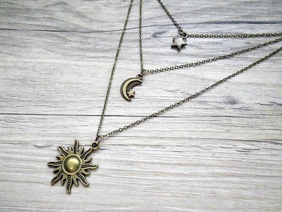 Sun Moon Amp Star Triple Layered Necklace By Vintagehomage