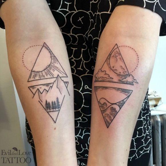 mountain tattoo, day and night tattoo, line work, dot work, ocean tattoo