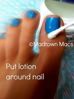 Nail polish wont stick to area that has  lotion on it. Simple cuticle stick removes it easily!  Great cheap trick for perfect nails.