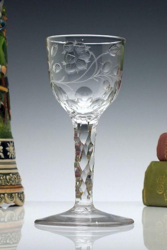 Antique 18th Century Georgian Engraved Opaque Twist Whiskey Dram Glass C1760 Decorative Arts Stemware