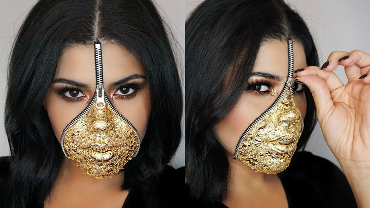 EASY Last Minute Zipper Face Makeup Using Gold Leaf | Halloween #zipperface #lastminutehalloweenmakeup #halloweenmakeup #goldleaf