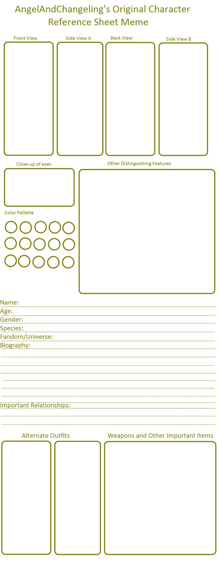This is an image of Current Character Template Drawing