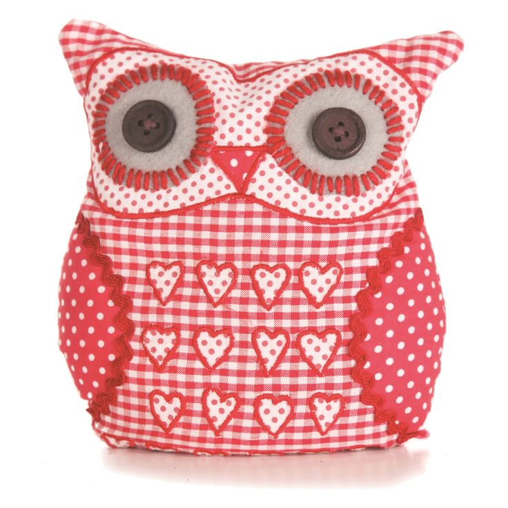 Free Stuffed Fabric Owls Patterns | ... Door Stops > Sass & Belle Applique Owl Door Stop - Red Gingham Hearts