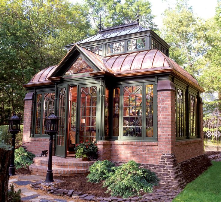 Brick and glass tiny cottage love the overall design for Garden glass house designs