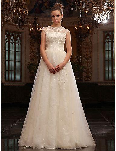 A-line Jewel Sweep/Brush Train Tulle Wedding Dress - USD $ 591.99