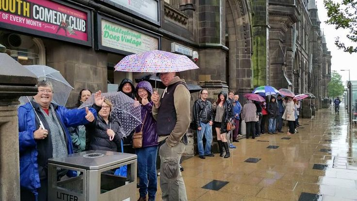 Early birds queuing outside Middlesbrough Town Hall, despite the miserable weather. #Boro4Corbyn #JezWeCan