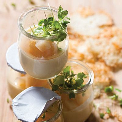 Baked pecorino creme with pickled pears and parmesan crisps.