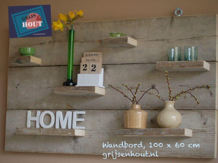 Wandbord oud steigerhout te bestellen via meer van grijs hout pinterest tes - Deco toilet grijs ...
