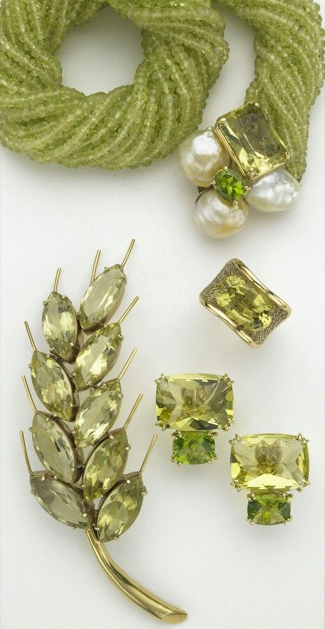 Sorab & Roshi faceted chrysoberyl bead necklace with a bubble clasp of South Sea pearls, lemon citrine and peridot; Jubilee ring with lemon citrine and pavé champagne diamonds; rectangular cushion earrings with lemon citrine and peridot; Wheat pin with faceted marquise lemon citrines.
