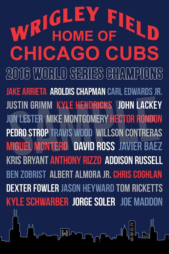 Chicago Cubs 2016 World Series Roster Special Edition