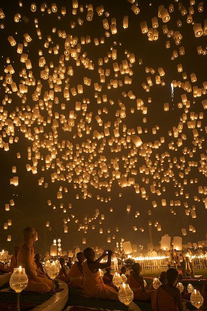 Floating lantern festival in Thailand. Reminds me of Tangled!