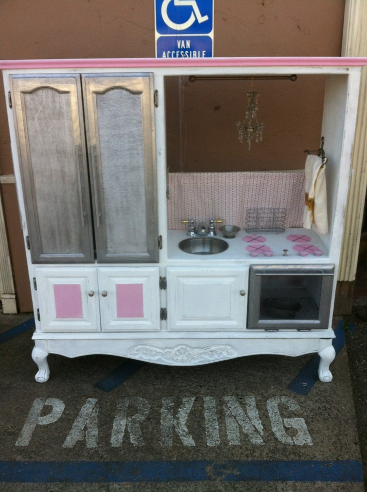 Shabby chic play kitchen play kitchens i made pinterest shabby plays and repurpose - Pinterest shabby chic kitchens ...