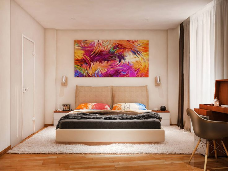 Beautiful, modern bedroom with lovely splashes of colour in the form of pillow cases and a large artwork. By Tatiana Zaitseva Design Studio