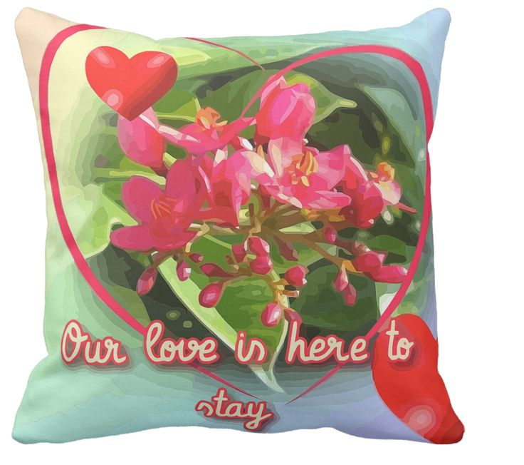 "The Bible says ""True love is eternal."" This cushion gives a  romantic tone to that famous quote. Flowers, hearts and loving words. What a beautiful gift for your someone special."