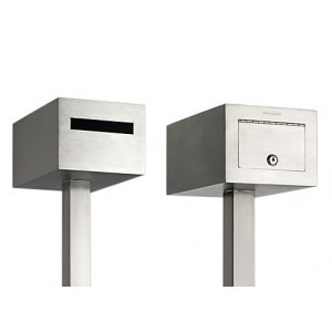 Ned Kelly Free-standing Letterbox:  Stunning modern design, free standing, safety lock constructed from 2.5mm 316 marine grade stainless steel.