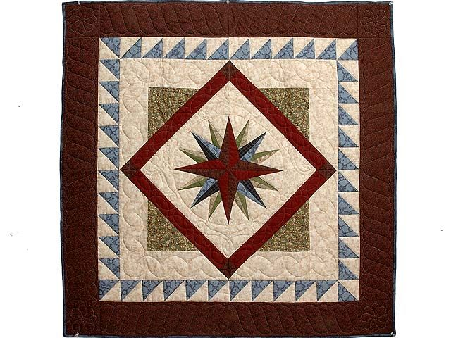 Mariners Compass Quilt -- outstanding smartly made Amish Quilts from Lancaster (wh3014)