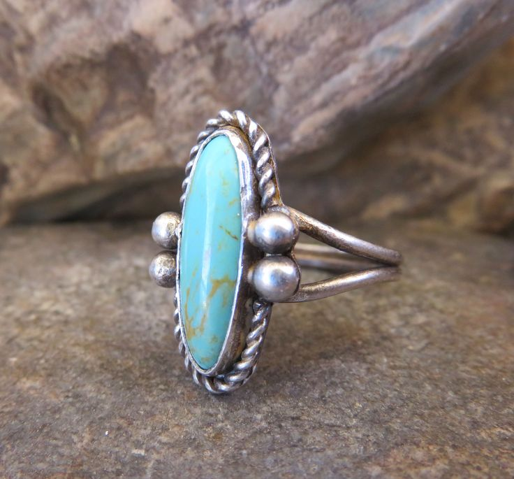 Marquise cut turquoise set in sterling silver #turquoise #sterlingsilver #kingmanturquoise #size7 #mojavemooncraft #rustic #ring #southwest #arizona