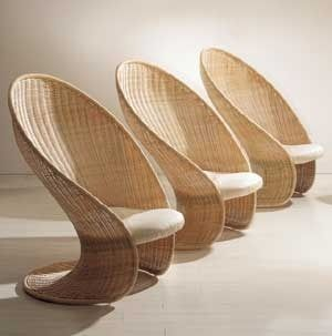 Contemporary armchair / rattan / cantilever - FOGLIA by Giovanni Travasa - Bonacina Vittorio