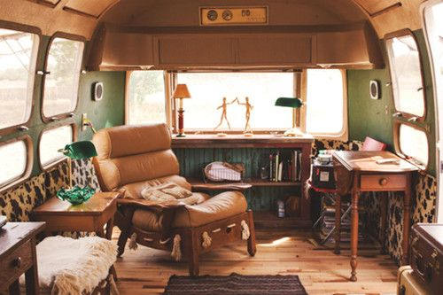 "Interior of a vintage Airstream at Three Points Ranch in Texas.  A ""camp"" of uniquely designed trailers.    from trailer to home"