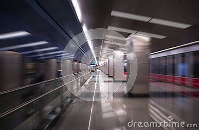 A blurred abstract view of a famous metro station in Moscow