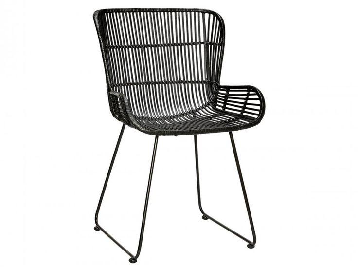 Krzesło Rattan Czarne — Krzesła Hübsch — sfmeble.pl