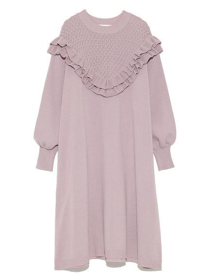 フリルニットワンピース(ニットワンピース)|Lily Brown(リリーブラウン)|ファッション通販|ウサギオンライン公式通販サイト