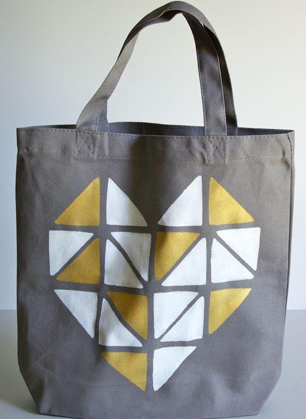 Geometric Heart Tote Bag - make a custom stencil in craftroom.