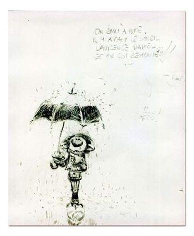 Gaston sous son parapluie by André Franquin