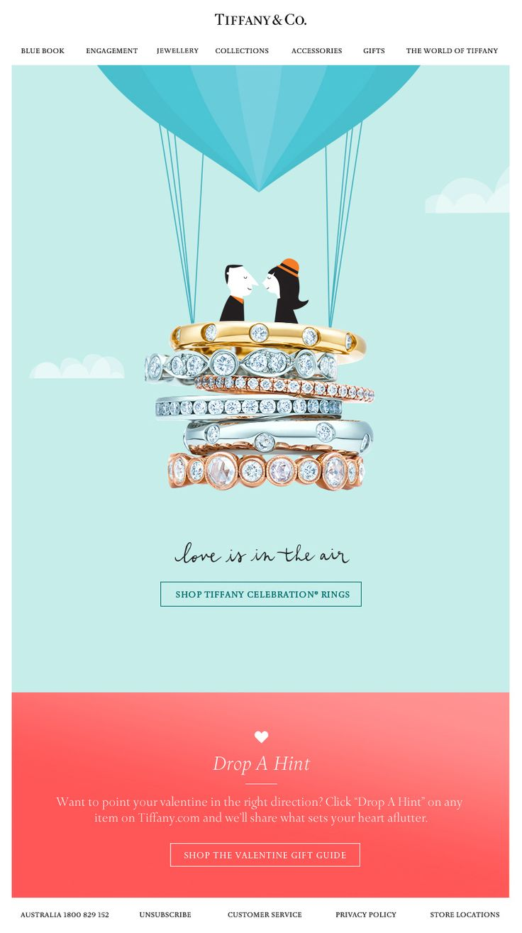 Tiffany & Co Valentine's Day #email design. Love how they combine…
