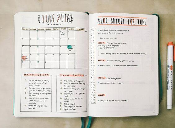 Calendario mensual Bullet Journal