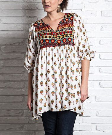 Love this White Geometric Peasant Dress - Plus on #zulily! #zulilyfinds