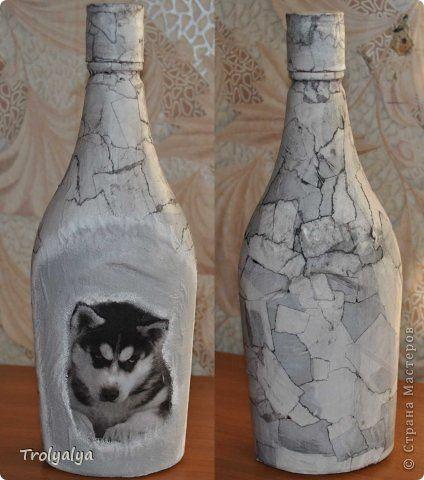 Декор предметов Аппликация Декупаж Декопатч + декупаж Бумага журнальная Бутылки стеклянные Клей