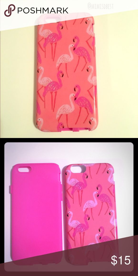 Flamingo iPhone 6/6s iPhone case Super cute iPhone 6/6s flamingo phone case. This is a boutique item so price is firm.  - Durable snap on design  - Protect and personalize your iPhone 6 / 6s with this back protector!  - Form-fitting back hard plastic covers  - Protects your cell phone without adding a lot of bulk  - Allows access to all functions  - Compatible with Apple iPhone 6 / 6s Models  - Exterior Dimension: 2.75in W x 0.4in L x 5.5in H Accessories Phone Cases