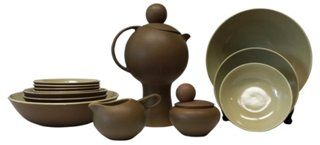 """Dorothy Thorpe Dishes Set, 11 Pcs $549.00-$850.00 Palm Springs serving set. Set includes tea/coffeepot (13""""H x 8""""W x 5.5""""L), creamer (3.5""""H x 5""""W x 6""""L), sugar bowl (5""""Dia) and eight coffee cups (2""""H x 4""""W x 5.5""""L). Marked: """"Palm Springs Pat.# 486, styled by Dorothy L. Thorpe of California, Crown Lynn potteries, New Zealand. Design by Mark Cleverly."""""""