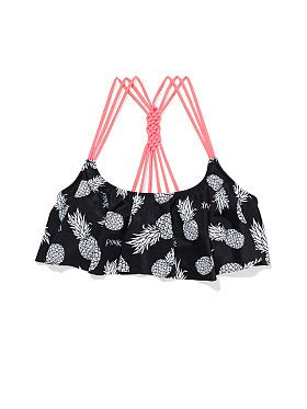 Love the pineapples! Knotted-Back Flounce Crop Top - Victoria's Secret