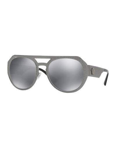 Embossed Metal Mirrored Aviator Sunglasses, Black