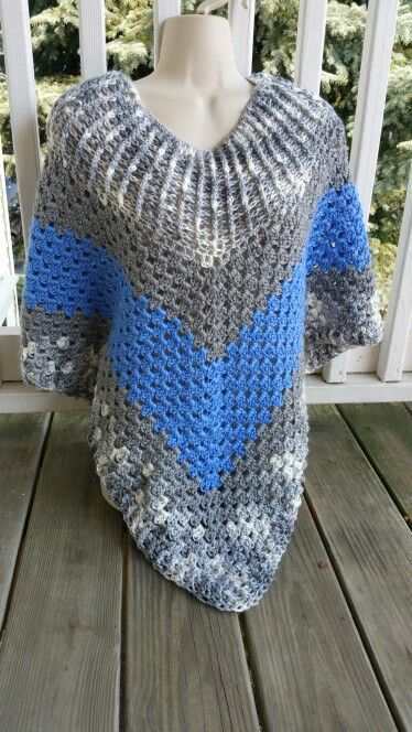 Hot Off My Hook! Project: Cowl-Neck Poncho Started: 31 Aug 2015  Completed: 01 Sept 2015 Model: Madge the Mannequin Crochet Hook(s): 7mm Yarn: Caron Simply Soft Color(s): Snow Camo, Grey Heather, Berry Blue Pattern Source: Simply Crochet Magazine Issue No. 25 Pattern Designed By: Simone Francis Notes: This is my 25th Cowl-Neck Poncho! My 2cd made from Caron Simply Soft yarn!