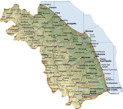 Map of In Le Marche Italy - all information medieval towns jesi macerata numana sirollo