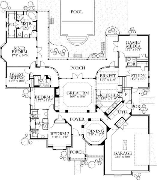 Love this layout!  Change guest bedroom to my study and then media and study to bedrooms 3&4 and it would be perfect!
