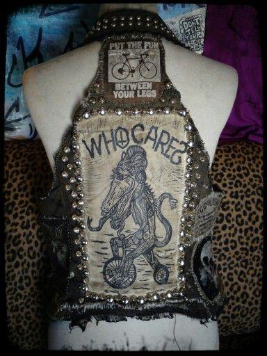 Womens crust punk vest