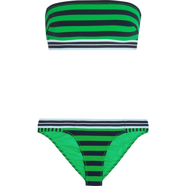Stella McCartney Calypso striped bandeau bikini (205 CAD) ❤ liked on Polyvore featuring swimwear, bikinis, bright green, bikini slip, bandeau top bikini, bikini two piece, stella mccartney and bandeau top swimwear