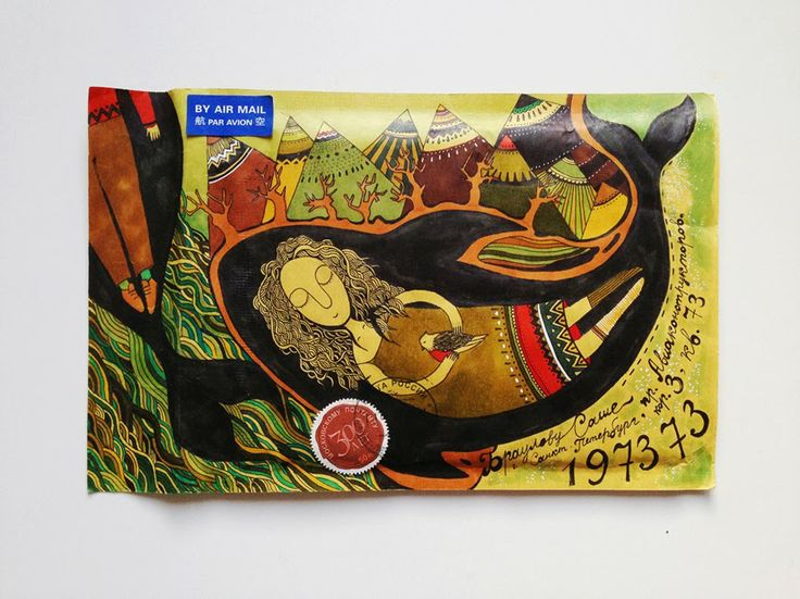 FISH MAIL ART: мэйл-арт конверты, объекты и открытки наси коптевой и саши браулова: breaking the waves