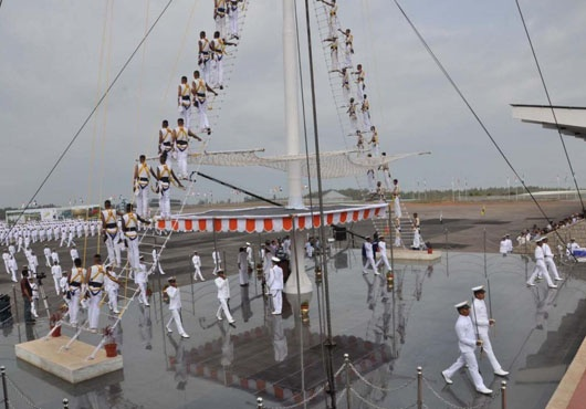 The first batch of 60 Indian Navy Officer Cadets, who joined the Indian Naval Academy (INA), Ezhimala for its Flag Ship B Tech course graduated along with 242 other Officer Cadets of the Indian Navy and Coast Guard at an impressive Passing Out Parade held at INA on 25 May 13.