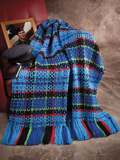 Crochet throw pattern from Military Tartan Throws pattern book available from Annie's Craft Store. Order here: https://www.anniescatalog.com/detail.html?prod_id=131389&cat_id=468