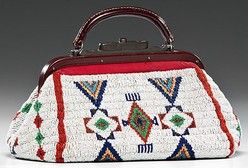 native american, America, Sioux [Native American Indian] beaded hide doctor's [or medical] bag, sinew-sewn and beaded using colors of red white-heart, pea green, medium blue, dark blue, pink, white, and faceted marcasite; bag edged with red ribbed fabric and lined with sateen, ca. 1930.